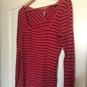 Free People red/navy stripes & lace sleeve detail